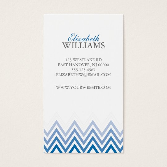 Elegant Blue Ombre Chevron Stripes Business Card