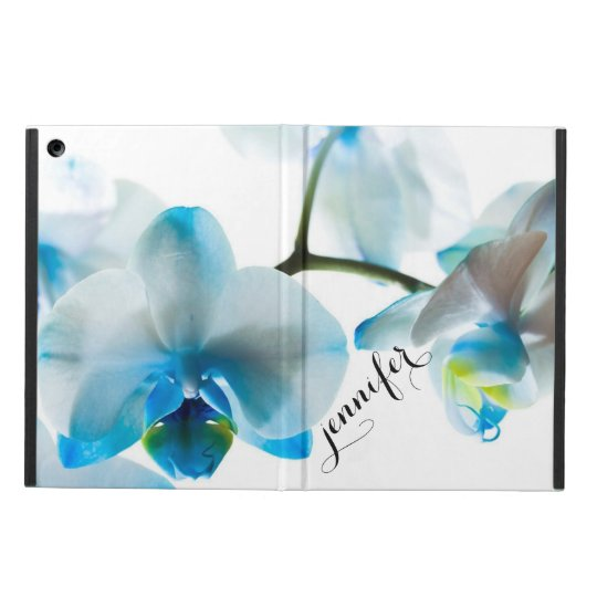 Elegant Blue Orchids Tropical Floral Personalised iPad Air