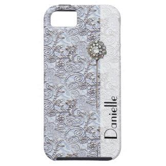 Elegant Blue Parisian Vintage Damask Printed Pin iPhone 5 Cases