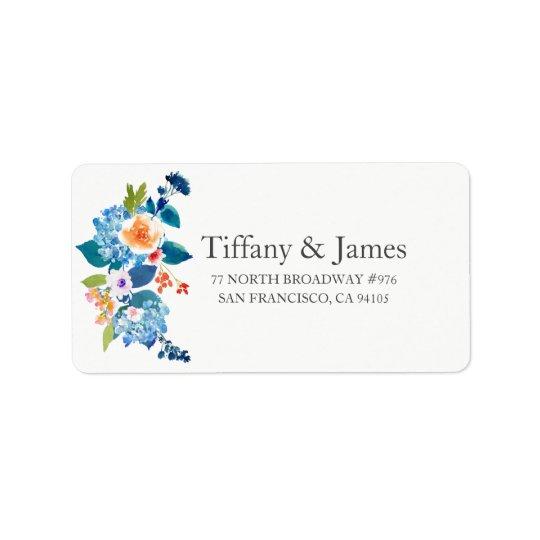 Elegant Blue &  Peach Floral Wedding Address Label