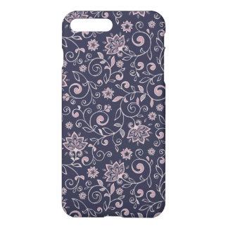 Elegant Blue Pink Floral Pattern Girly iPhone 7 Plus Case