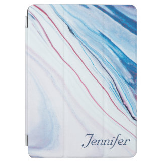 Elegant BLUE PINK PURPLE FAUX MARBLE PERSONALIZED iPad Air Cover