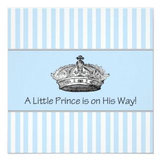 Elegant Blue Prince Baby Boy Shower 13 Cm X 13 Cm Square Invitation Card