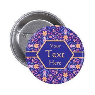 Elegant Blue Renaissance Arts and Crafts 6 Cm Round Badge