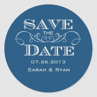 Elegant Blue Save the Date Sticker