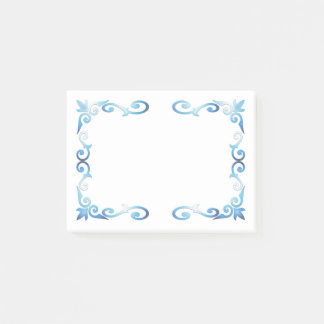 Elegant Blue Scroll Frame Post-it Notes