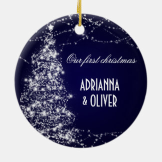 Elegant Blue Shimmering Tree First Christmas Ornaments