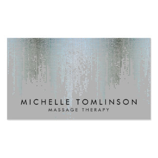 Elegant Blue Silver Confetti Dots Pack Of Standard Business Cards