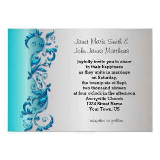 Elegant Blue & Silver Florid Wedding Design 13 Cm X 18 Cm Invitation Card