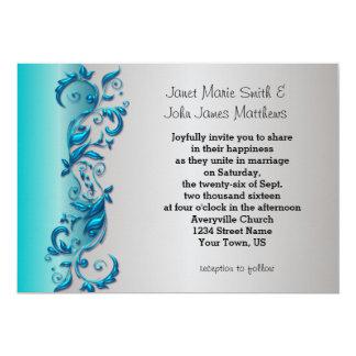 Elegant Blue & Silver Florid Wedding Design 13 Cm X 18 Cm Invitation Card