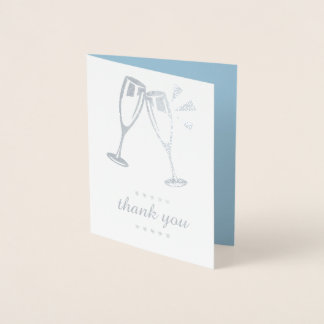 Elegant Blue Silver Foil Wedding Thank You Cards