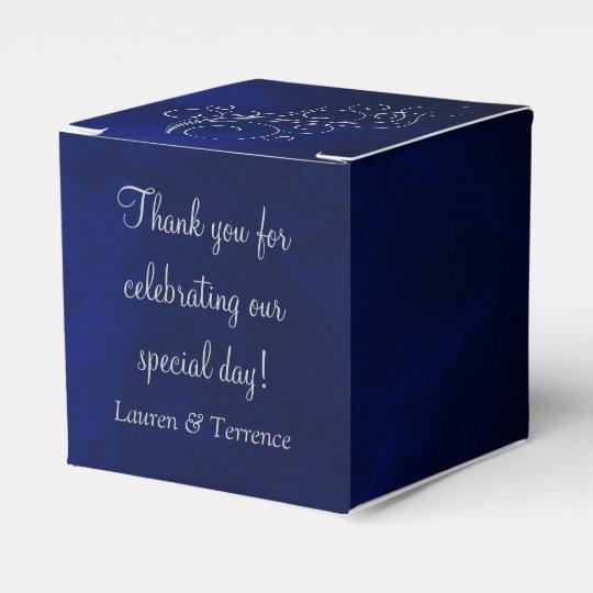 Elegant Blue Silver Wedding Favour Box