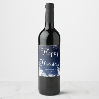 Elegant blue snowflake winter happy holidays wine label