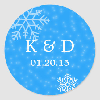 Elegant Blue Snowflakes Winter Wedding Seal Round Sticker