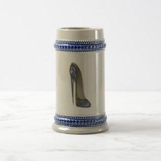 Elegant Blue Stiletto High Heel Shoe Art Gifts Beer Stein