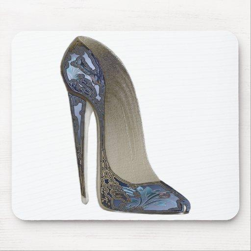 Elegant Blue Stiletto High Heel Shoe Art Gifts Mousemat