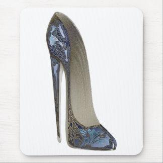 Elegant Blue Stiletto High Heel Shoe Art Gifts Mouse Pad