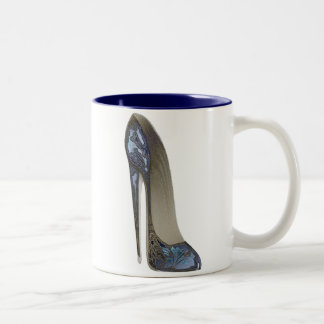 Elegant Blue Stiletto High Heel Shoe Art Gifts Two-Tone Coffee Mug