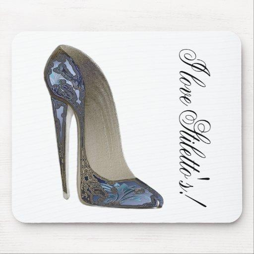 Elegant Blue Stiletto Shoe Art Gifts Mousepad