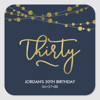 Elegant Blue Strings of Lights 30th Birthday Square Sticker