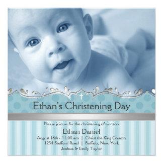 Elegant Blue Stripe Boys Photo Christening Custom Announcements