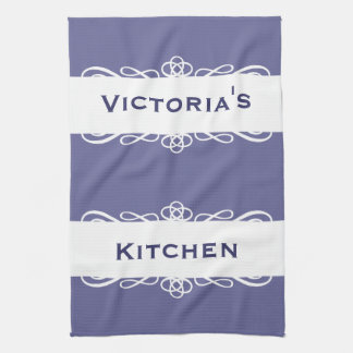 Elegant blue stripe name kitchen tea towel