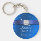 Elegant Blue Sweet Sixteen Party Favour Key Chain