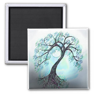 Elegant Blue Tree of life - Save the Date! Square Magnet