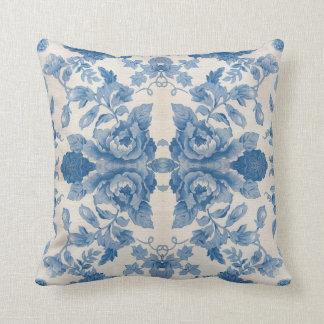 Elegant blue vintage floral cushion