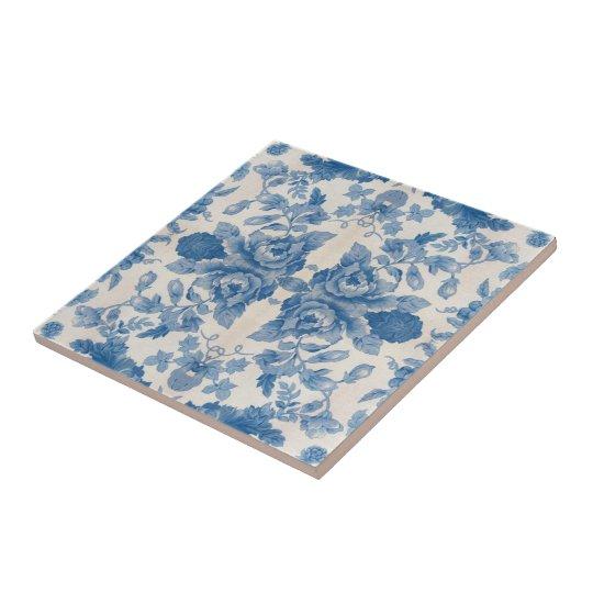 Elegant blue vintage floral small square tile