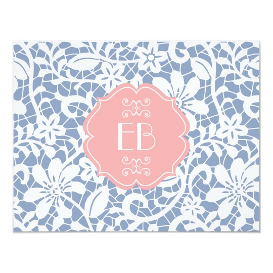Elegant Blue Vintage Lace Personalised Monogram Card