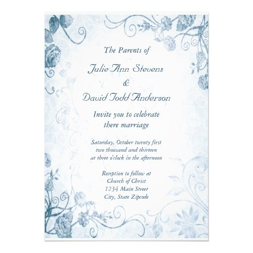 Elegant Blue Vintage Wedding Personalized Announcements