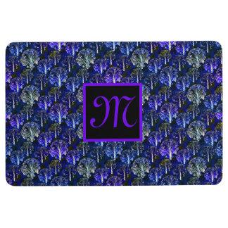 Elegant blue & violet monogrammed bath mat