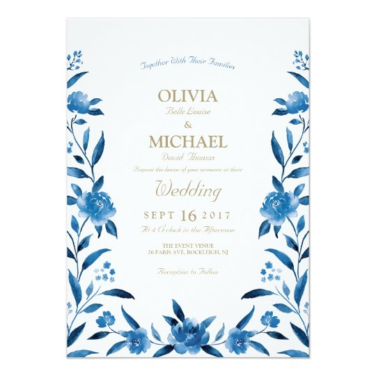Elegant blue Watercolor floral Chinoiserie Wedding Card