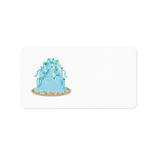 Elegant Blue Wedding Cake Label