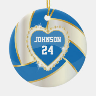 Elegant Blue, White and Gold Volleyball Christmas Ornament
