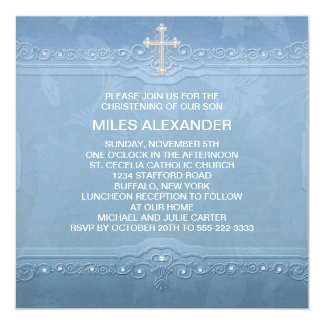 Elegant Blue White Baby Boy Christening 13 Cm X 13 Cm Square Invitation Card