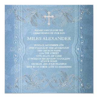 Elegant Blue White Baby Boy Christening Invite