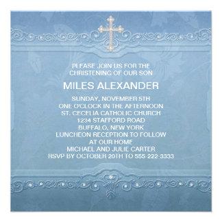 Elegant Blue White Baby Boy Christening Custom Invite