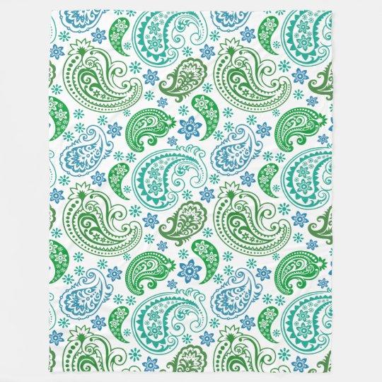 Elegant Blue White & Green Vintage Paisley Fleece