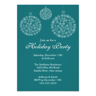 Elegant Blue & White Holiday Christmas Party 13 Cm X 18 Cm Invitation Card