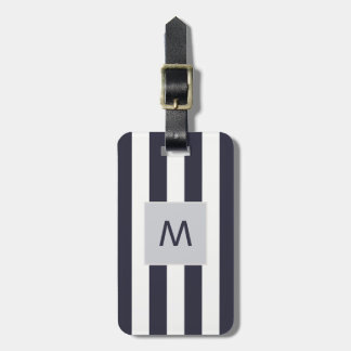 Elegant Blue White Stripes Monogram Luggage Tag
