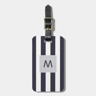 Elegant Blue White Stripes Monogram Luggage Tag