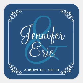 Elegant Blue & White Wedding Favor Sticker