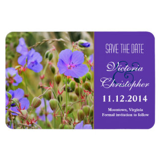 elegant blue wild flowers save the date magnets