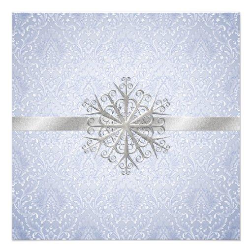 Elegant Blue Winter Snow Wedding Invitation