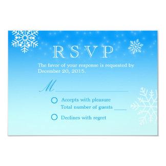 Elegant Blue Winter Snowflakes Wedding RSVP 9 Cm X 13 Cm Invitation Card