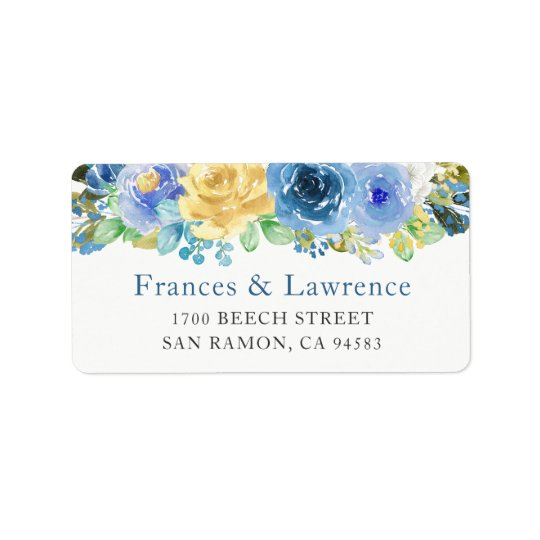 Elegant Blue Yellow Rose Botanical Garden Label