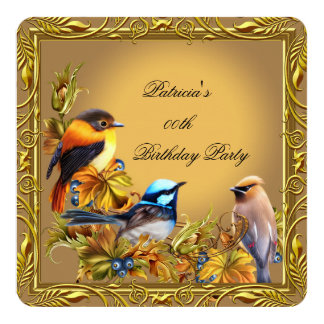 Elegant Bluebird Bird Caramel Gold Birthday Party 13 Cm X 13 Cm Square Invitation Card