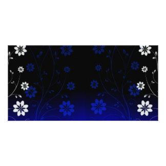 Elegant bluish and white blossom wedding gift personalized photo card